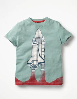 Shore Blue Rocket Space Graphic T-shirt