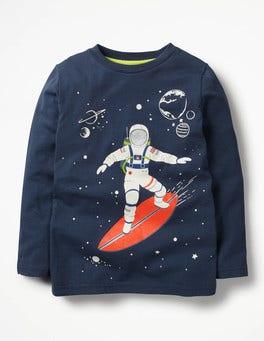 School Navy Surfing Astronaut Glow-in-the-dark Space T-shirt