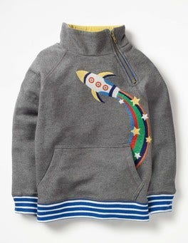 Grey Marl Rocket Raglan Zip Popover Sweatshirt
