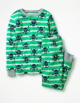 Astro Green/Ecru Skulls Cosy Long John Pajamas