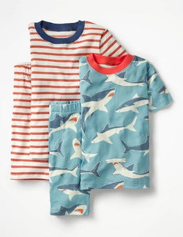 Multi Sharks Twin Pack Short John Pajamas