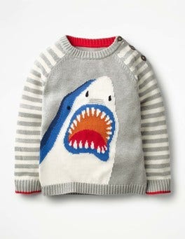 Grey Marl/Ivory Shark Stripy Graphic Jumper