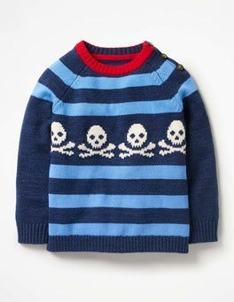 Navy/Seascape Blue Skulls Stripy Graphic Sweater