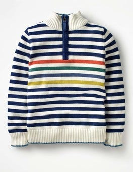 Ivory/School Navy Half-zip Jumper
