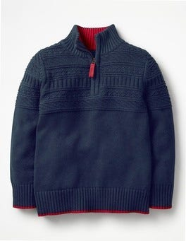 School Navy Guernsey Half-zip Jumper