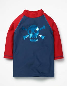Deep Sea Blue Skull Logo Rash Guard