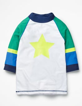 White/Astro Green Star Logo Rash Guard