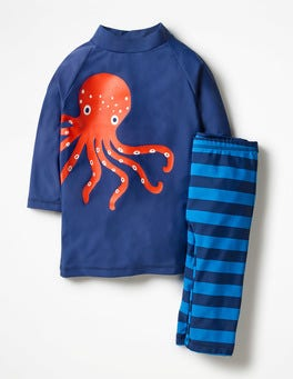 Deep Sea Blue Octopus Surf Suit