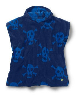 Beacon Blue Large Skulls Towelling Poncho
