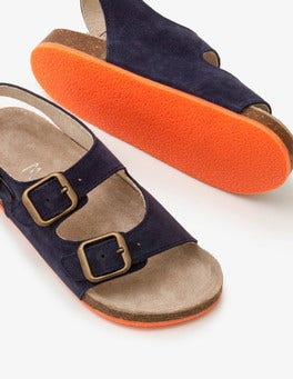 School Navy Suede Sandals