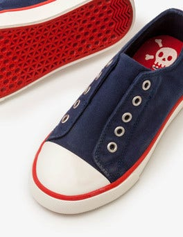School Navy Laceless Canvas Shoes