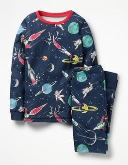 School Navy Space Space Explorer Long John PJs