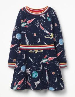 School Navy Space Space Sweatshirt Dress