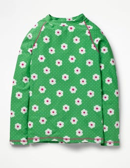 Summer Green Daisy Dots Long-sleeved Rash Vest