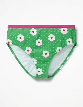 Summer Green Daisy Dots Patterned Bikini Bottoms
