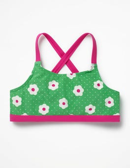 Summer Green Daisy Dots Surf Bikini Top