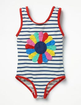 Ivory/Deep Sea Blue Flower Fun Detail Swimsuit