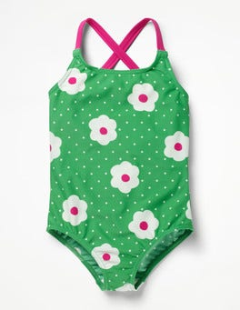 Summer Green Daisy Dots Cross-back Swimsuit
