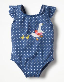 Washed Bluebell Blue Pin Spots Baby Swimsuit