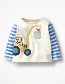 Ecru/Skipper Blue Digger Farm Appliqué T-shirt
