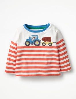 Ecru/Crayon Red Tractor Farm Appliqué T-shirt