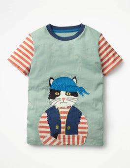 Shore Cat Pet Pirate Appliqué T-shirt