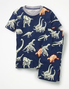 Beacon Blue Dino Bones Glow-in-the-dark Short Pajamas