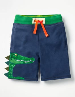 Beacon Blue Crocodile Appliqué Sweatshorts