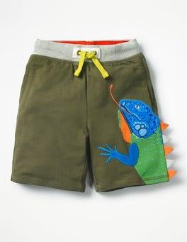 Khaki Green Iguana Appliqué Sweatshorts