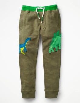 Khaki Green Dino Appliqué Joggers