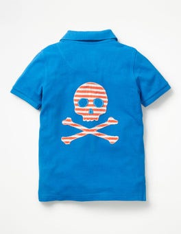 Yogo Blue Skull Graphic Piqué Polo Shirt