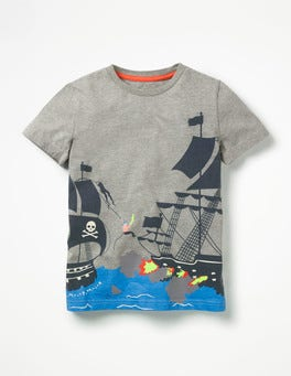Grey Marl Pirate Ship Pirate Battle T-shirt