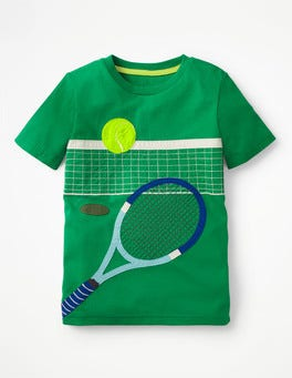 Runner Bean Green Sports Appliqué T-shirt