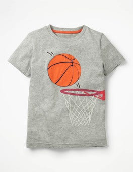 Grey Marl Basketball Sports Appliqué T-shirt