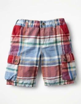 Washed Crimson Red/Blue Summer Cargo Shorts