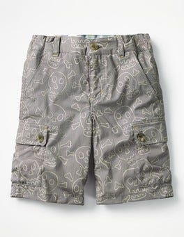 Raft Grey Skulls Summer Cargo Shorts