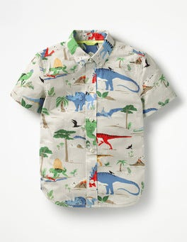 Shale Grey Scenic Dinosaur Fun Short-sleeved Shirt