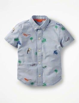 Oxford Blue Island Fun Short-sleeved Shirt