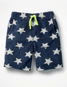 School Navy/Ecru Star Towelling Shorts