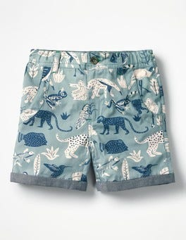 Shore Blue Jungle Roll-Up Shorts
