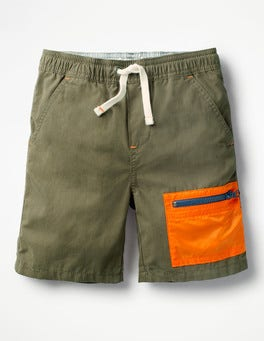 Khaki Green Colourblock Shorts
