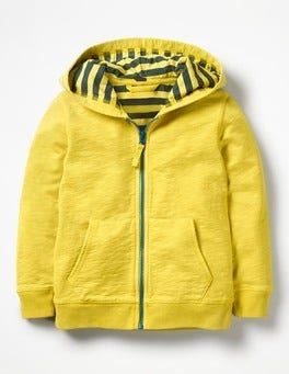 Sweetcorn Yellow Garment-Dyed Zip-up Hoodie