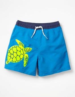 Knallgelb, Schildkröte Bestickte Badeshorts mit Meeresmotiven