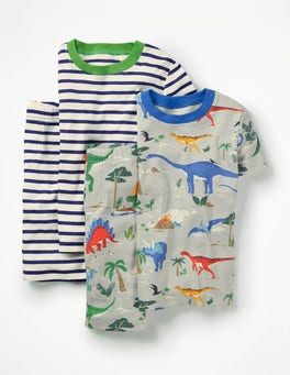 Shale Grey Scenic Dino Twin Pack Short John Pajamas