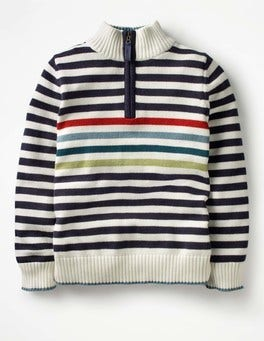 Ivory/School Navy Half-zip Sweater