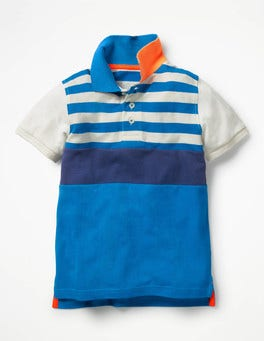 Yogo Blue Colourblock Piqué Polo Shirt
