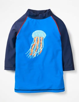 Pool Blue Jelly Fish Logo Rash Guard