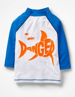 White Danger Shark Logo Rash Guard