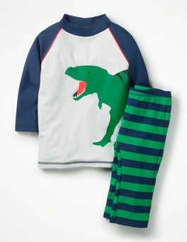 Runner Bean Green Dino Surf Suit