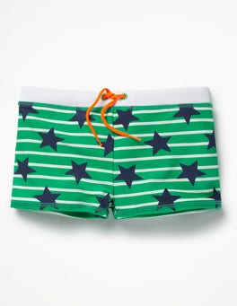 Astro Green/Ivory Stars Swim Trunks